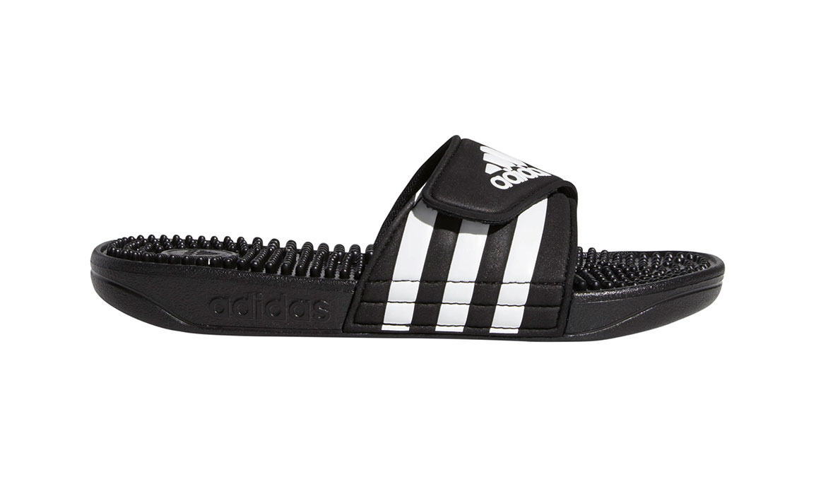 Kids Adidas Adissage Recovery Slides - Color: Black/White (Regular Width) - Size: 10, Black/White, large, image 1