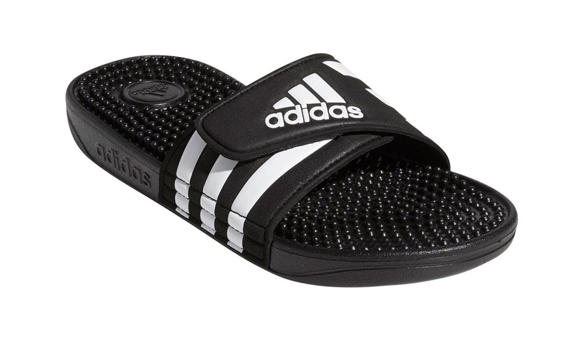 Kids Adidas Adissage Recovery Slides - Color: Black/White (Regular Width) - Size: 10, Black/White, large, image 2