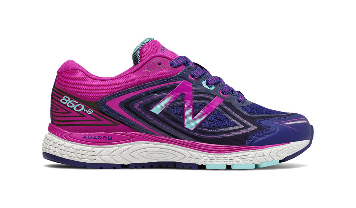 Kids New Balance Grade School 860v8 Running Shoe - Color: Navy/Poisonberry (Regular Width) - Size: 4.5, Navy/Pink, large, image 1
