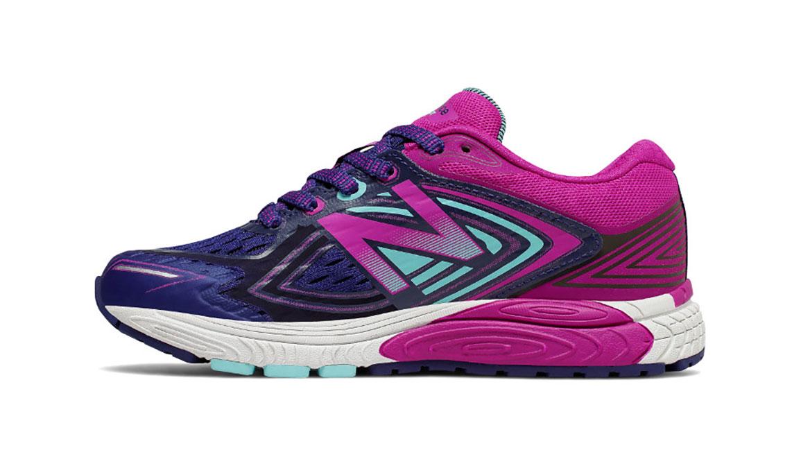 Kids New Balance Grade School 860v8 Running Shoe - Color: Navy/Poisonberry (Regular Width) - Size: 4.5, Navy/Pink, large, image 2