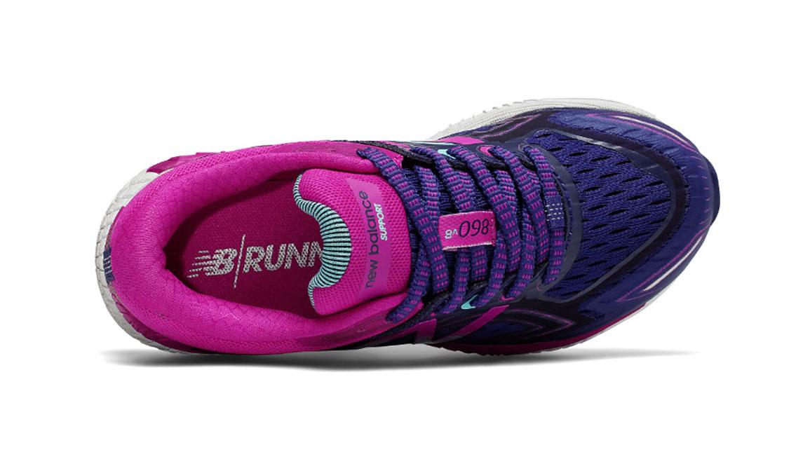 Kids New Balance Grade School 860v8 Running Shoe - Color: Navy/Poisonberry (Regular Width) - Size: 4.5, Navy/Pink, large, image 3