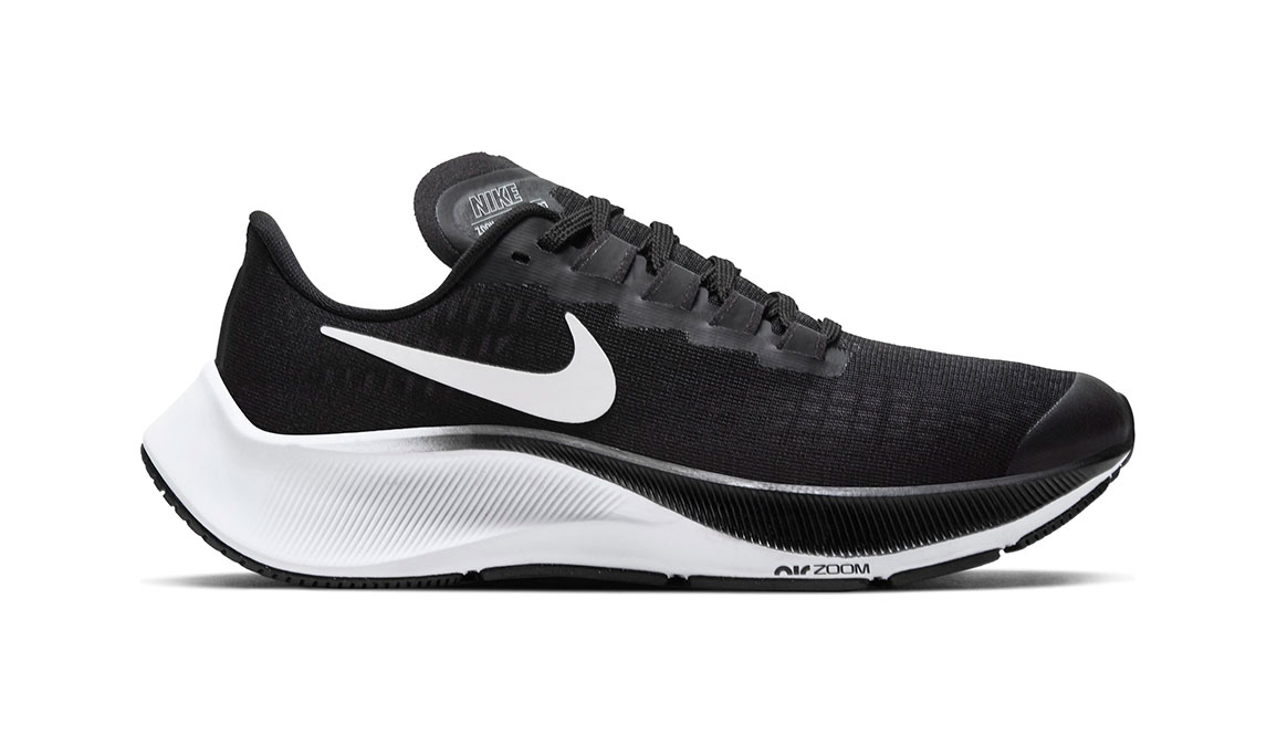 Kid's Nike Grade School Air Zoom Pegasus 37 Running Shoe - Color: Black/White (Regular Width) - Size: 1, Black/White, large, image 1