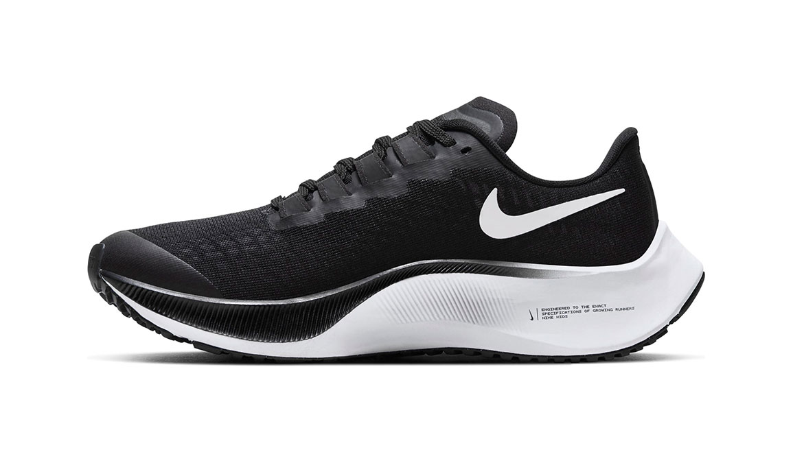 Kids Nike Grade School Air Zoom Pegasus 37 - Color: Black/White (Regular Width) - Size: 1, Black/White, large, image 2