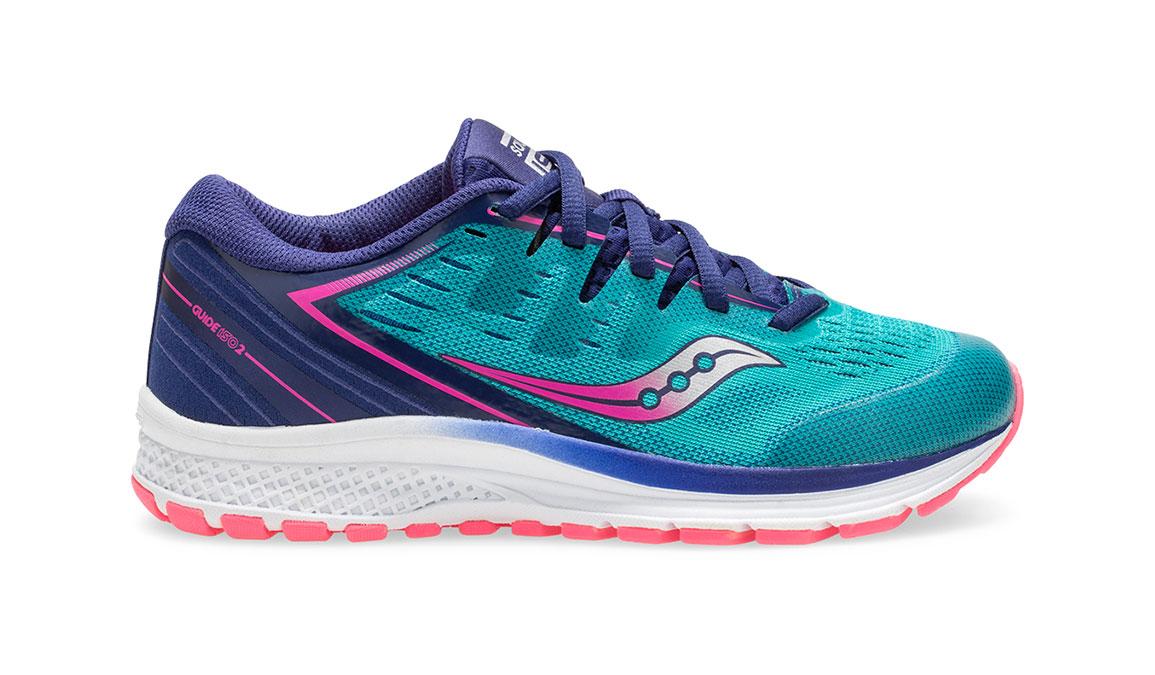 Kids Saucony Guide ISO 2 Running Shoe - Color: Teal/Pink (Regular Width) - Size: 1, Teal, large, image 1