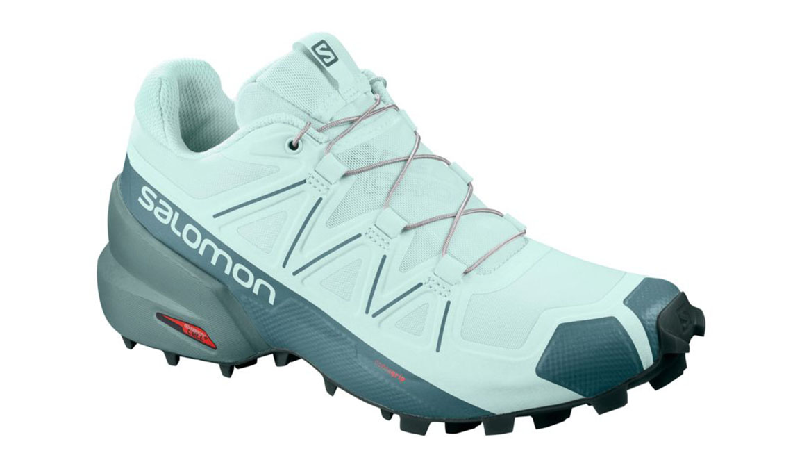 Women's Salomon Speedcross 5 Trail Running Shoe - Color: Icy Morn/Hydro/Green Gables (Regular Width) - Size: 5, Green, large, image 1