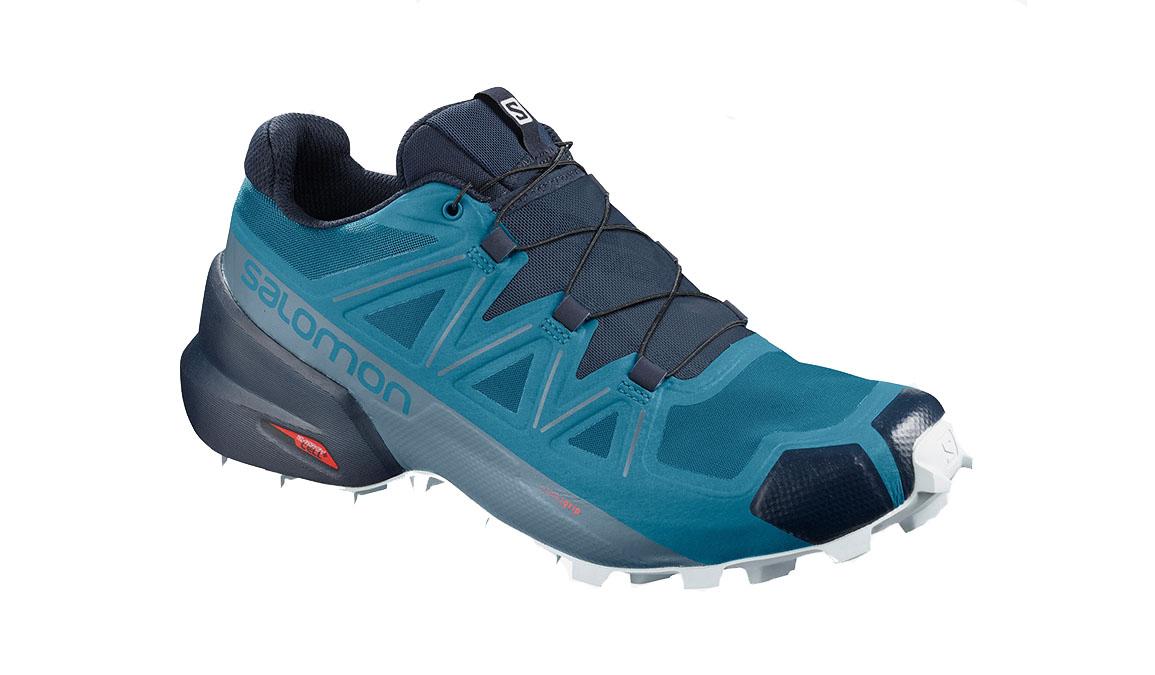 Men's Salomon Speedcross 5 Trail Running Shoe - Color: Fjord Blue/Navy Blazer/Illusion Blue  (Regular Width) - Size: 8, Blue, large, image 1