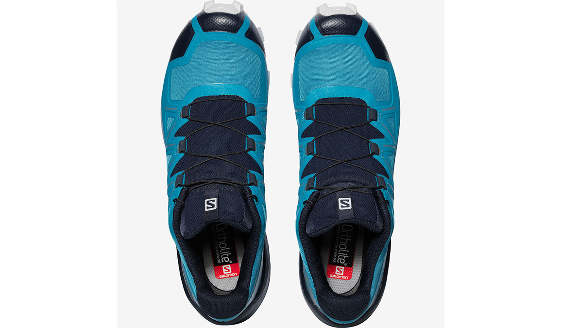 Men's Salomon Speedcross 5 Trail Running Shoe - Color: Fjord Blue/Navy Blazer/Illusion Blue  (Regular Width) - Size: 8, Blue, large, image 4
