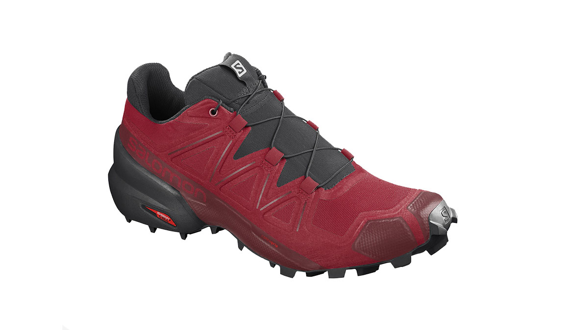Men's Salomon Speedcross 5 Trail Running Shoe - Color: Barbados Cherry/Black/Red Dahlia (Regular Width) - Size: 7, Red, large, image 1