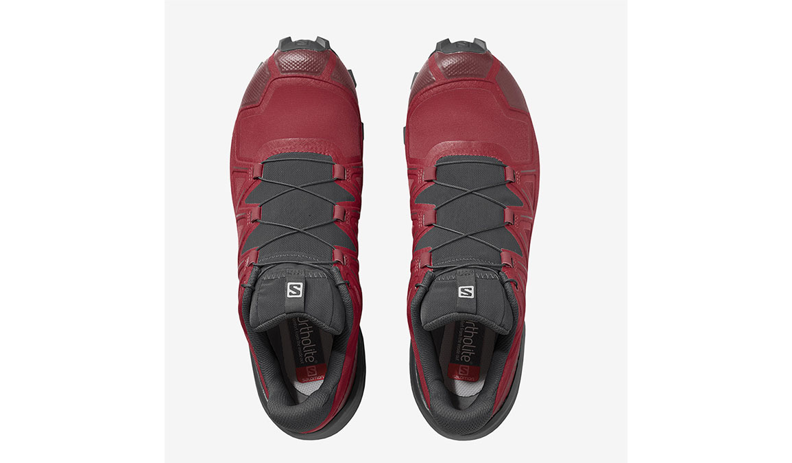 Men's Salomon Speedcross 5 Trail Running Shoe - Color: Barbados Cherry/Black/Red Dahlia (Regular Width) - Size: 7, Red, large, image 4