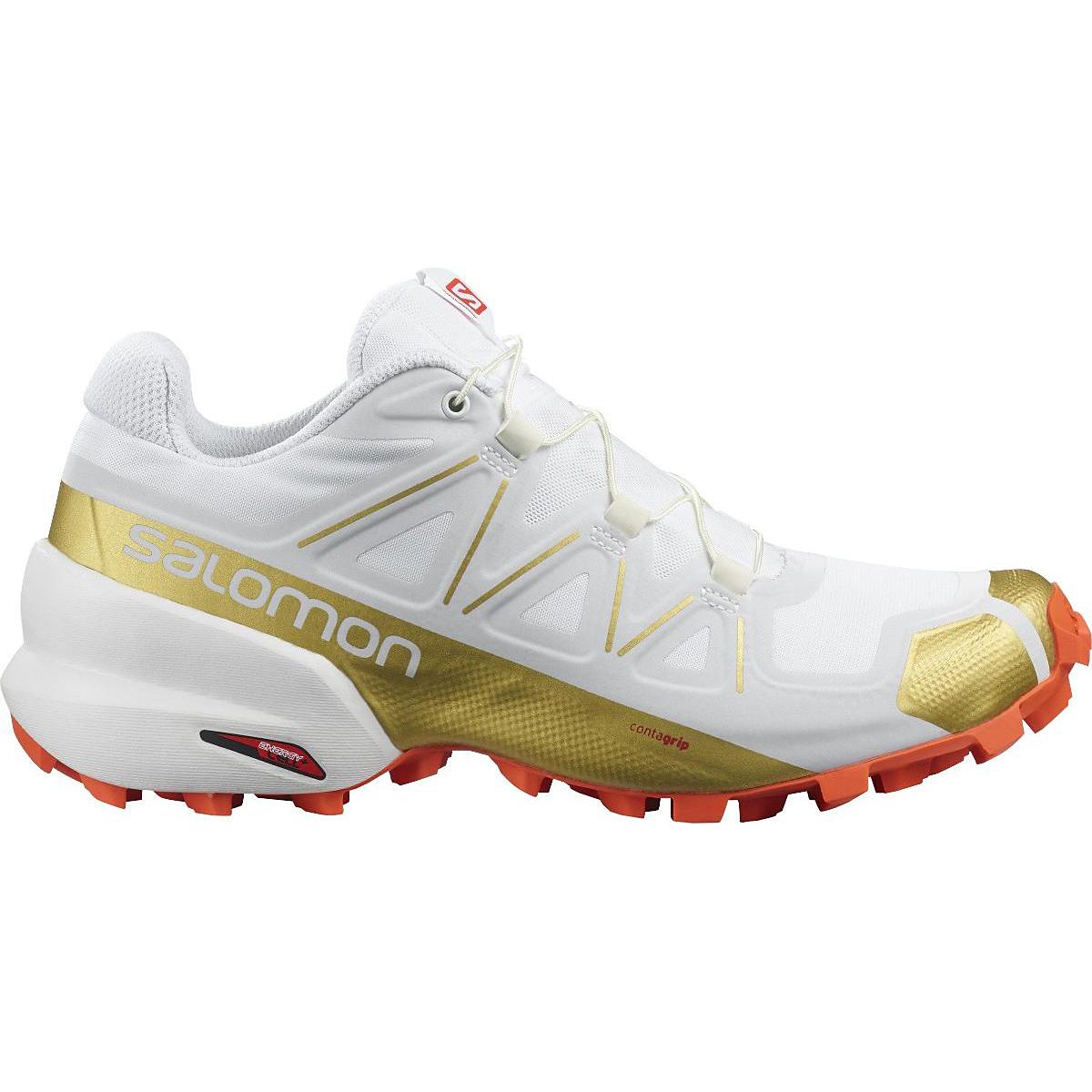 Women's Salomon Speedcross 5 Trail Running Shoe - Color: White/White - Size: 5 - Width: Regular, White/White, large, image 1