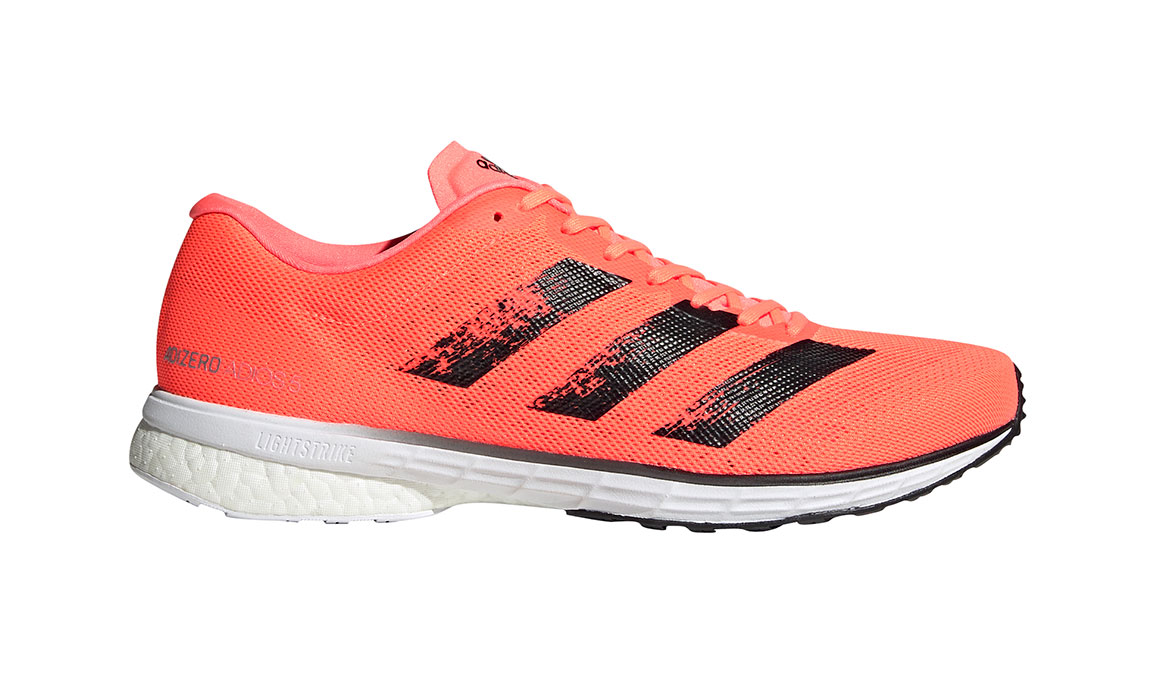 Men's Adidas Adizero Adios 5 Running Shoe - Color: Signal Coral/Core Black (Regular Width) - Size: 9, Coral, large, image 1