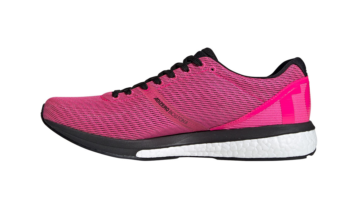 Men's Adidas Adizero Boston 8 Running Shoe - Color: Shock Pink/Core Black (Regular Width) - Size: 7.5, Pink/Black, large, image 2