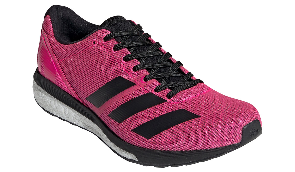 Men's Adidas Adizero Boston 8 Running Shoe - Color: Shock Pink/Core Black (Regular Width) - Size: 7.5, Pink/Black, large, image 3