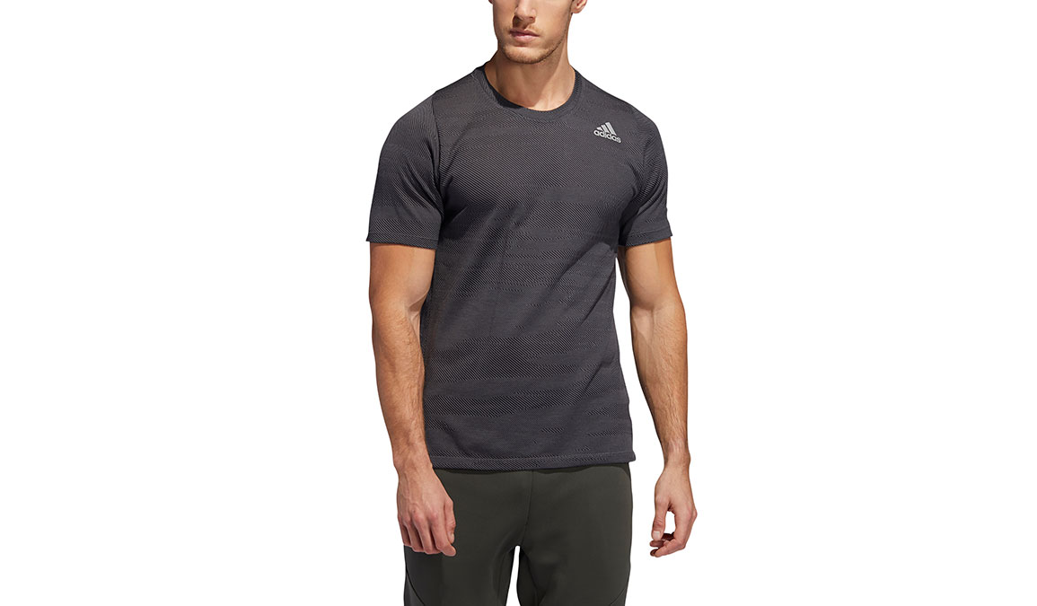 Men's Adidas FreeLift Winterized Jacquard Tee - Color: Grey/Black Size: S, Grey/Black, large, image 1