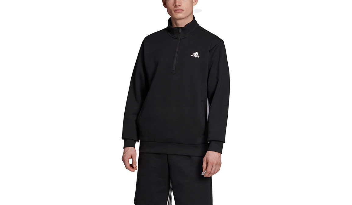 Men's Adidas Must Haves 3 Stripe 1/2 Zip - Color: Black/White Size: XS, Black/White, large, image 1