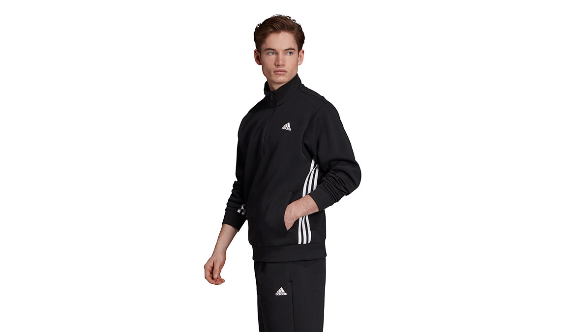 Men's Adidas Must Haves 3 Stripe 1/2 Zip - Color: Black/White Size: XS, Black/White, large, image 2