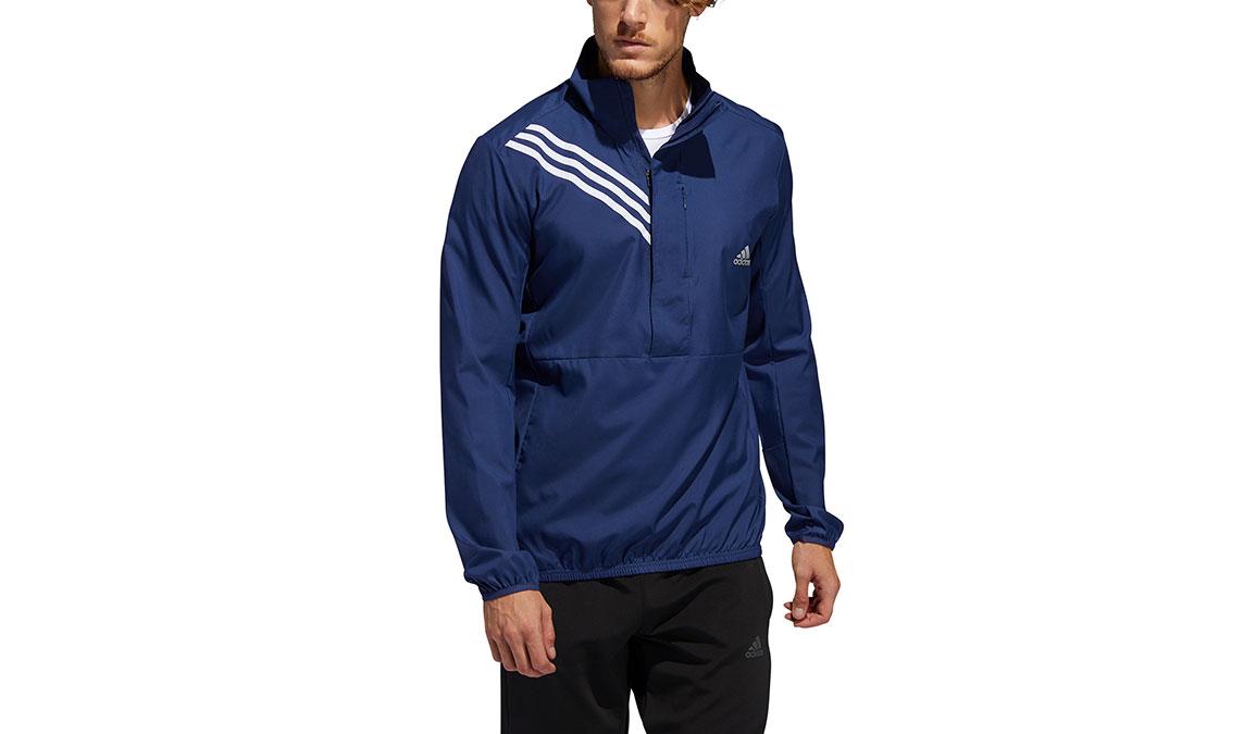 Men's Adidas Run It 3-Stripes Anorak - Color: Tech Indigo Size: S, Indigo, large, image 1