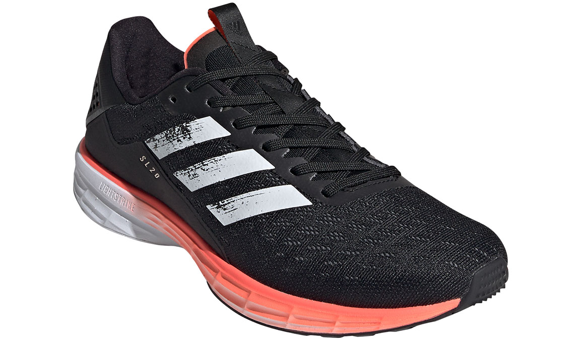Men's Adidas SL20 Running Shoe - Color: Core Black/Cloud White/Signal Coral (Regular Width) - Size: 6.5, Black, large, image 4