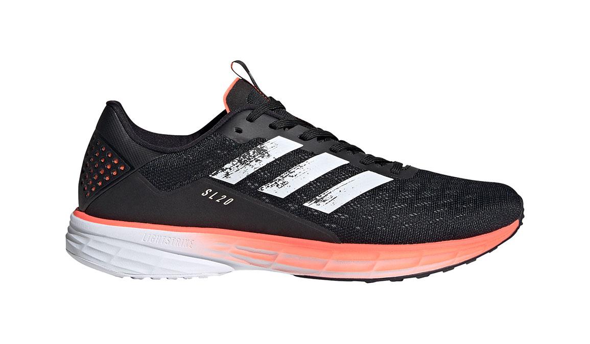 Men's Adidas SL20 Running Shoe - Color: Core Black/Cloud White/Signal Coral (Regular Width) - Size: 6.5, Black, large, image 1