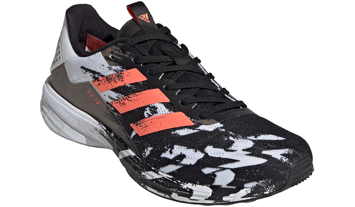 Men's Adidas SL20 Running Shoe - Color: Core Black/Signal Coral/Cloud White (Regular Width) - Size: 6.5, Black/White, large, image 4