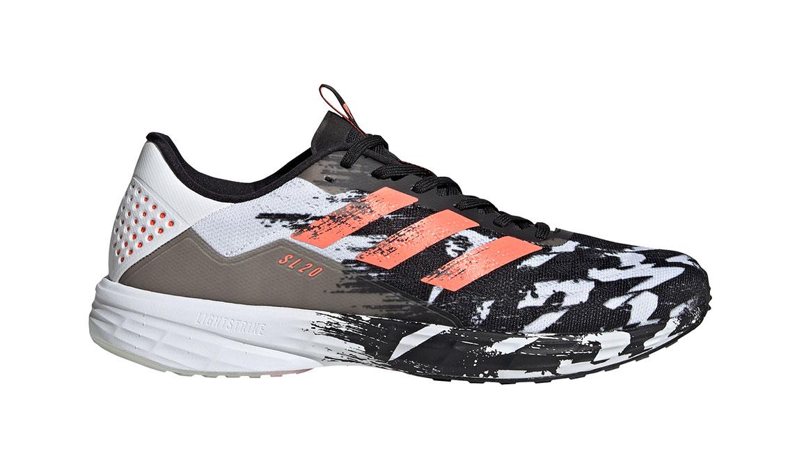 Men's Adidas SL20 Running Shoe - Color: Core Black/Signal Coral/Cloud White (Regular Width) - Size: 6.5, Black/White, large, image 1