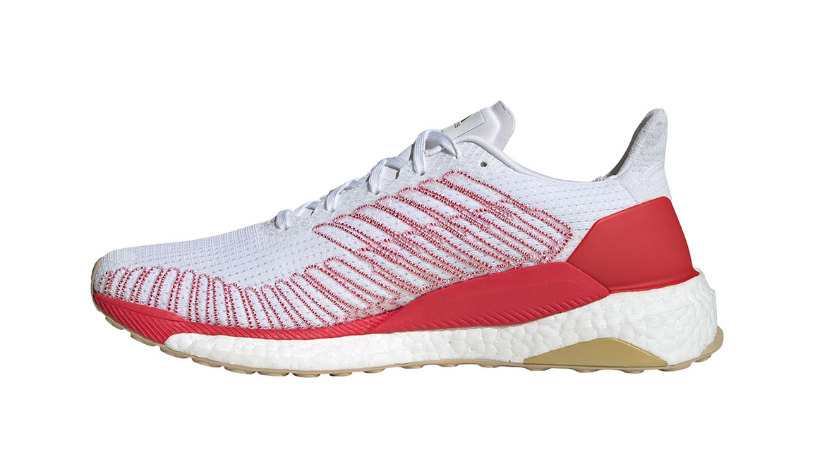 Men's Adidas SolarBOOST 19 Running Shoe - Color: Feather White/Scarlet (Regular Width) - Size: 8.5, White/Red, large, image 2