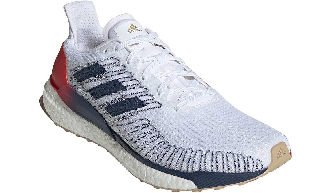 Men's Adidas SolarBOOST 19 Running Shoe - Color: Feather White/Scarlet (Regular Width) - Size: 8.5, White/Red, large, image 4