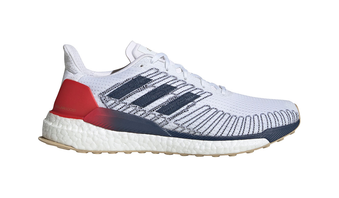 Men's Adidas SolarBOOST 19 Running Shoe - Color: Feather White/Scarlet (Regular Width) - Size: 8.5, White/Red, large, image 1