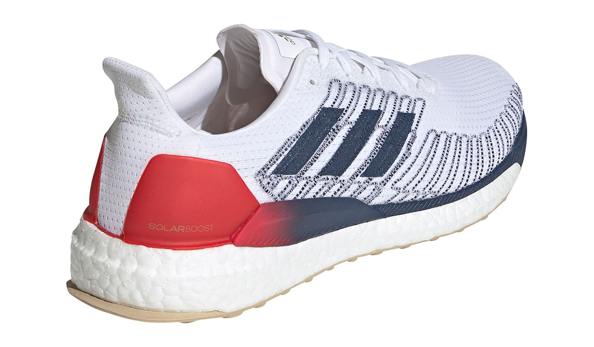 Men's Adidas SolarBOOST 19 Running Shoe - Color: Feather White/Scarlet (Regular Width) - Size: 8.5, White/Red, large, image 3