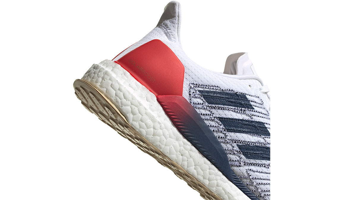 Men's Adidas SolarBOOST 19 Running Shoe - Color: Feather White/Scarlet (Regular Width) - Size: 8.5, White/Red, large, image 5