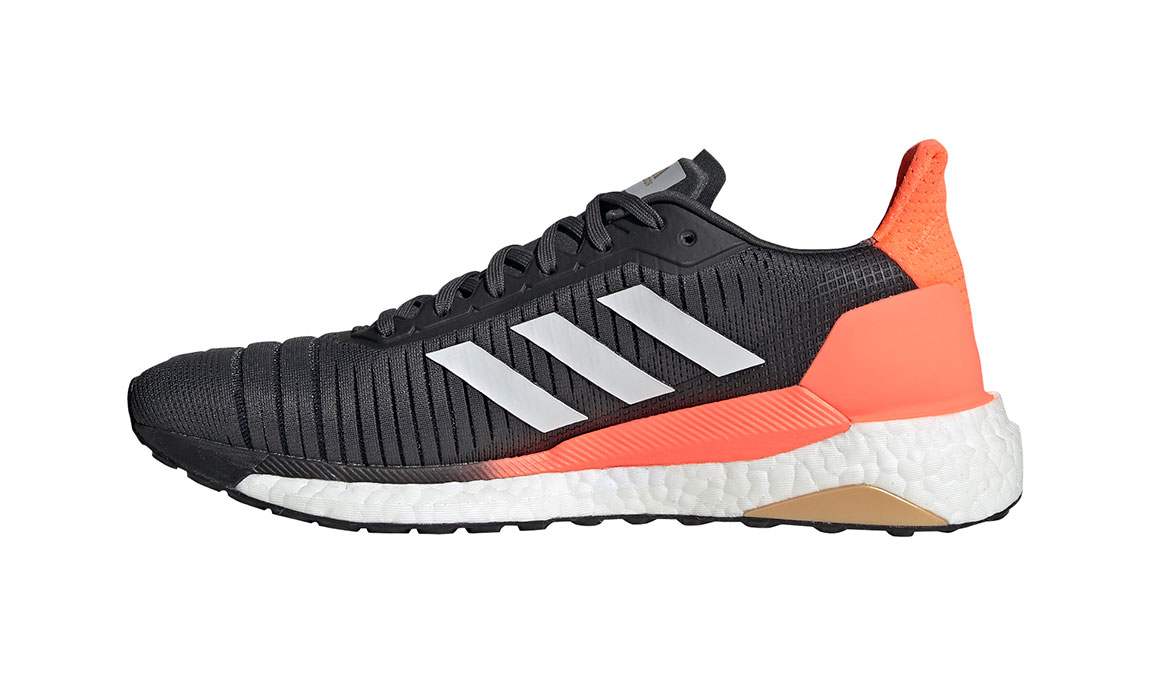 Men's Adidas SolarGlide 19 Running Shoe - Color: Grey/Signal Coral (Regular Width) - Size: 7, Grey/Signal Coral, large, image 2