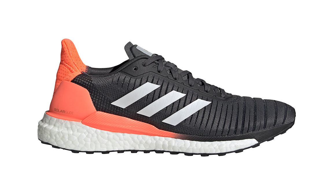 Men's Adidas SolarGlide 19 Running Shoe - Color: Grey/Signal Coral (Regular Width) - Size: 7, Grey/Signal Coral, large, image 1