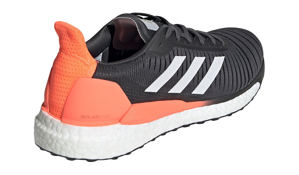 Men's Adidas SolarGlide 19 Running Shoe - Color: Grey/Signal Coral (Regular Width) - Size: 7, Grey/Signal Coral, large, image 3
