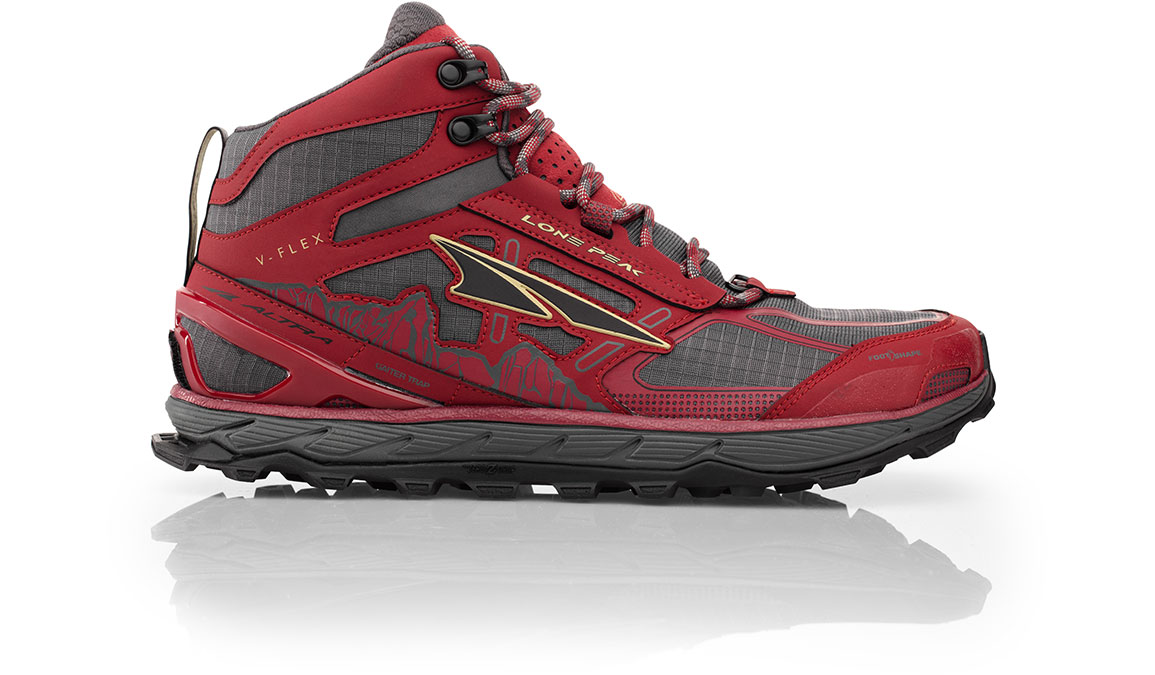 Men's Altra Lone Peak 4 Mid Mesh Trail Running Shoe - Color: Red (Regular Width) - Size: 10, Red, large, image 1