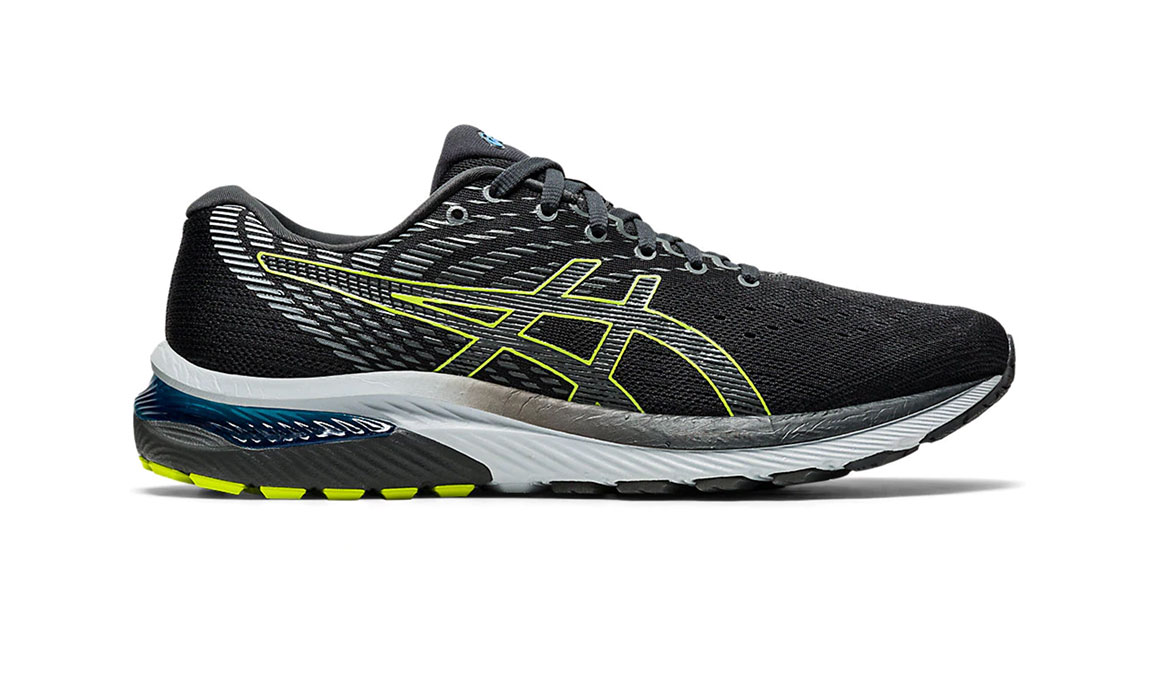 Men's Asics GEL-Cumulus 22 Running Shoe - Color: Graphite Grey/Lime Zest (Regular Width) - Size: 6.5, Grey/Green, large, image 1