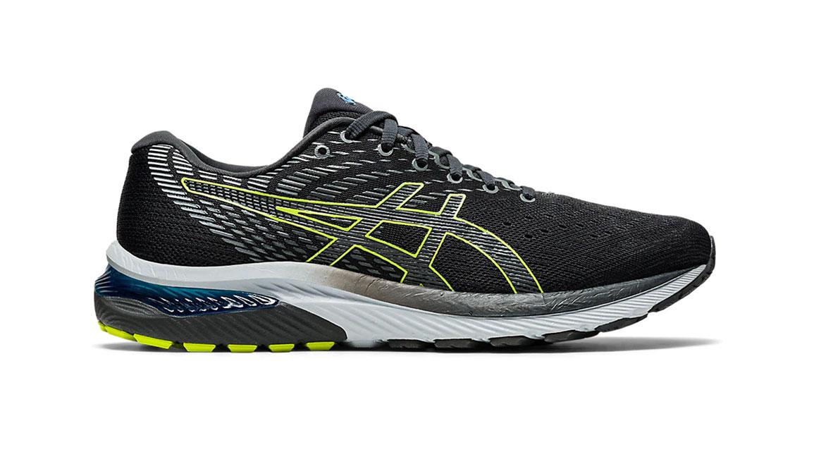 Men's Asics GEL-Cumulus 22 Running Shoe - Color: Graphite Grey/Lime Zest (Regular Width) - Size: 6.5, Grey/Green, large, image 1