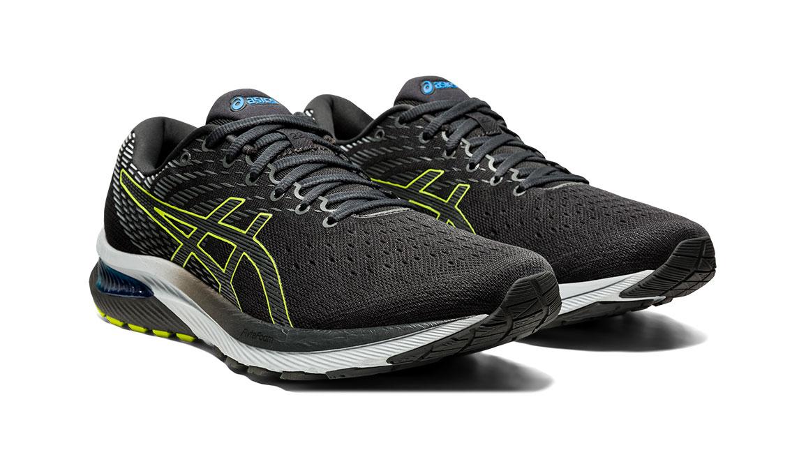 Men's Asics GEL-Cumulus 22 Running Shoe - Color: Graphite Grey/Lime Zest (Regular Width) - Size: 6.5, Grey/Green, large, image 2