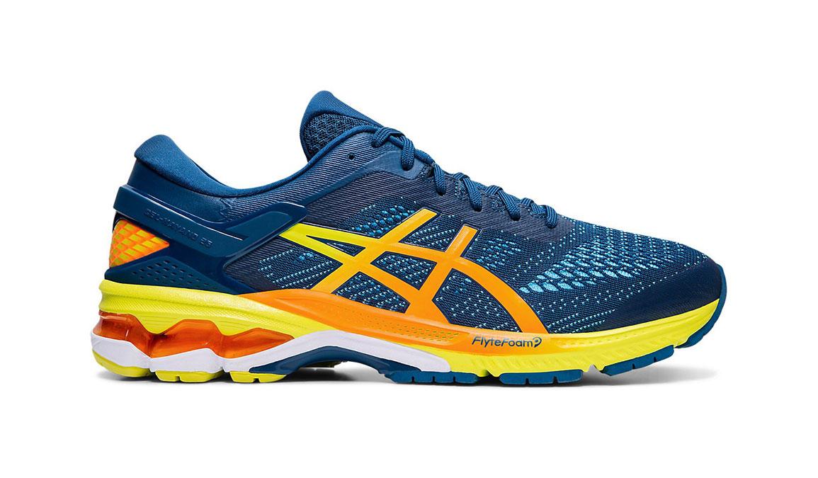 Men's Asics GEL-Kayano 26 Arise Running Shoe - Color: Mako Blue/Sour Yuzu (Regular Width) - Size: 8.5, Blue/Yellow, large, image 1