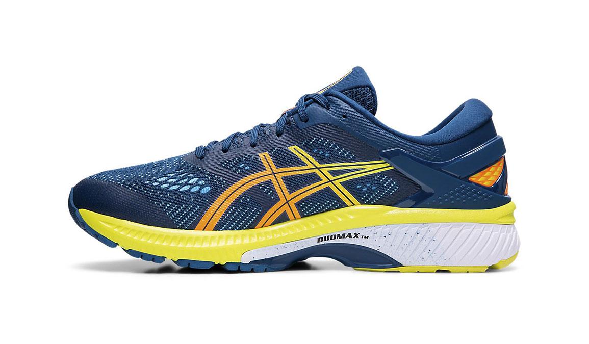 Men's Asics GEL-Kayano 26 Arise Running Shoe - Color: Mako Blue/Sour Yuzu (Regular Width) - Size: 8.5, Blue/Yellow, large, image 2