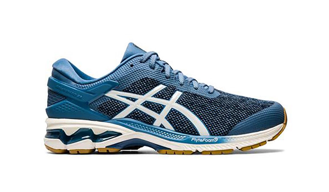 Men's Asics Gel-Kayano 26 Mx Running Shoe - Color: Grey Floss/Cream (Regular Width) - Size: 8.5, Blue/White, large, image 1