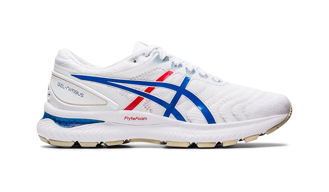 Men's Asics GEL-Nimbus 22 Retro Tokyo Running Shoe - Color: White/Electric Blue (Regular Width) - Size: 9.5, White/Blue, large, image 1