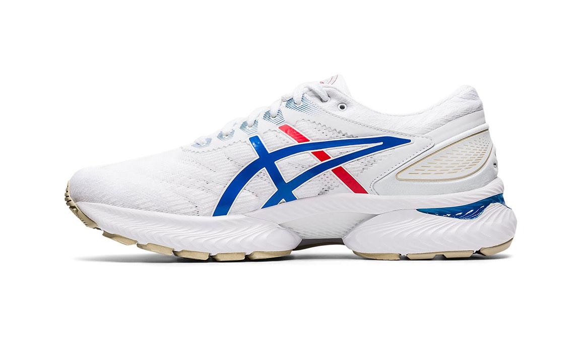 Men's Asics GEL-Nimbus 22 Retro Tokyo Running Shoe - Color: White/Electric Blue (Regular Width) - Size: 9.5, White/Blue, large, image 2