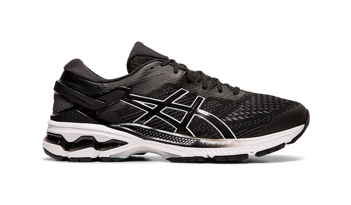 Men's Asics GEL-Kayano 26 Running Shoe - Color: Black/White (Regular Width) - Size: 8.5, Black/White, large, image 1