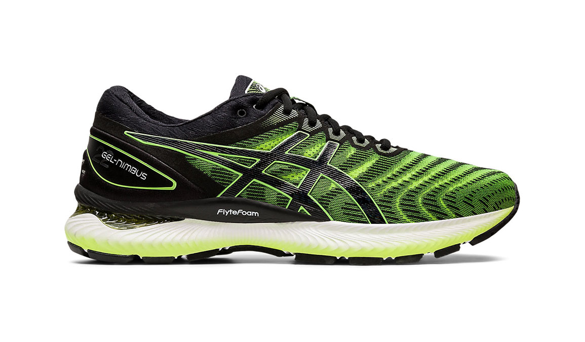 Men's Asics GEL-Nimbus 22 Running Shoe - Color: Safety Yellow/Black (Regular Width) - Size: 8.5, Yellow/Black, large, image 1