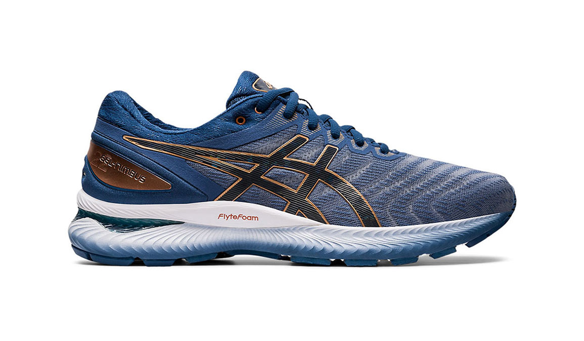Men's Asics GEL-Nimbus 22 Running Shoe - Color: Sheet Rock/Graphite (Regular Width) - Size: 8, Blue/Grey, large, image 1