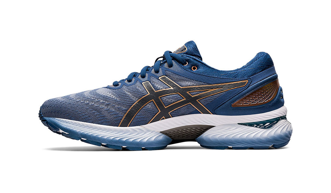 Men's Asics GEL-Nimbus 22 Running Shoe - Color: Sheet Rock/Graphite (Regular Width) - Size: 8, Blue/Grey, large, image 2
