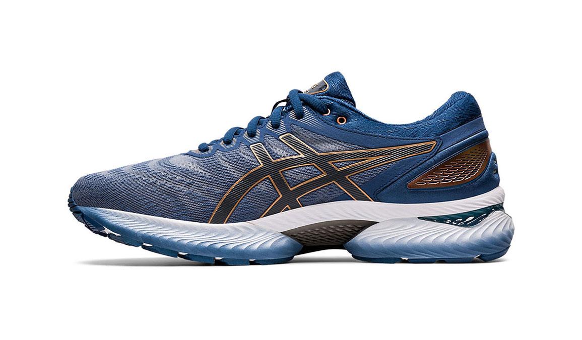 Men's Asics GEL-Nimbus 22 Running Shoe - Color: Sheet Rock/Graphite (Regular Width) - Size: 8, Blue/Grey, large, image 2