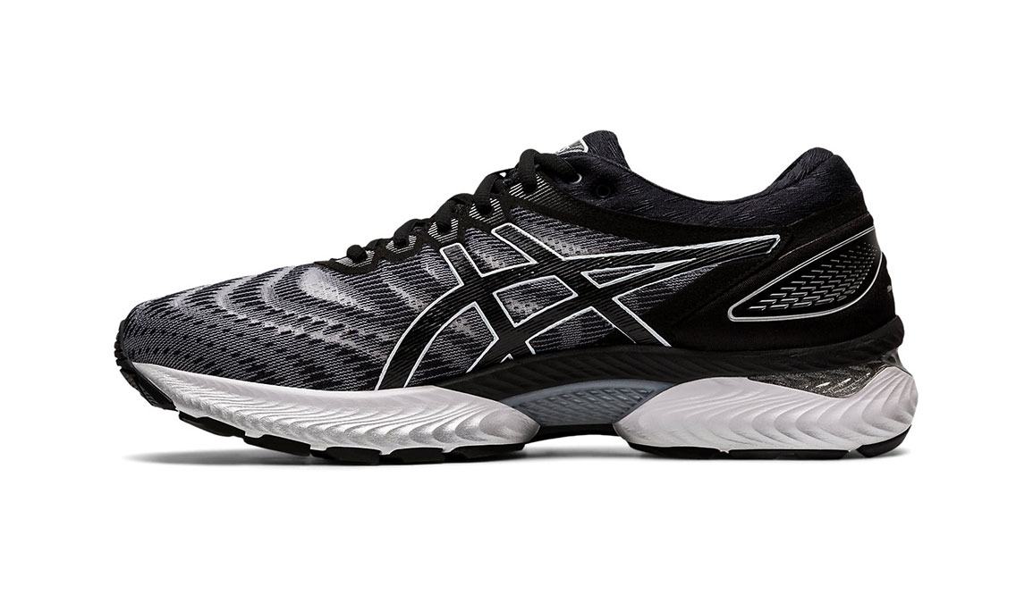 Men's Asics GEL-Nimbus 22 Running Shoe - Color: White/Black (Regular Width) - Size: 8.5, White/Black, large, image 2