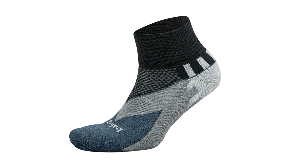 Men's Balega Enduro V-Tech Quarter Socks - Color: Black/Charcoal Size: M, Black/Grey, large, image 1