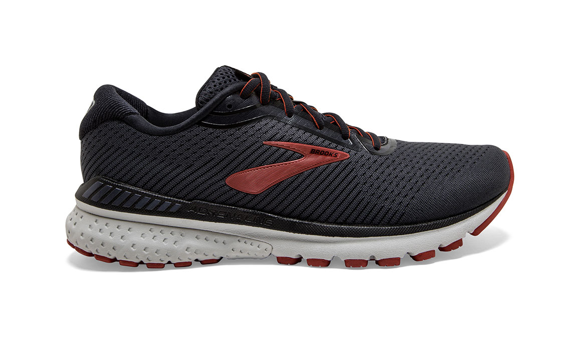 Men's Brooks Adrenaline GTS 20 Running Shoe - Color: Black/Ebony/Ketchup (Regular Width) - Size: 9, Black/Red, large, image 1